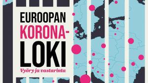 Euroopan kartta, punaisia pisteitä ja ohjelman Euroopan koronaloki -grafiikka.