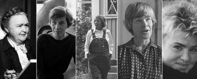 Mustavalkoisessa kuvakollaasissa Hella Wuolijoki, Tove Jansson, Armi Ratia, Elisabeth Rehn ja Kikka