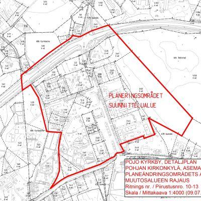 Raseborgs stads karta som visar gränserna för planeområdet.