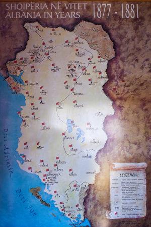 Gammal karta över albanernas bosättningsområden.