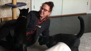 Susanne Schötz förbereder datainsamling med Rocky och Turbo.