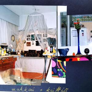 Kaksi kuvaa limittäin kotialbumissa: toisessa näkymä huoneeseen, jonka perällä valoverhokatoksella koristettu sänky, toisessa keittöön, jonka seinällä avohyllyjä täynnä pieniä purkkeja ja säilytystavaroita.