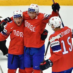 Norrmännen firar under matchen mot Sydkorea i ishockey-VM 2018.