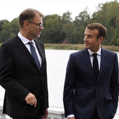 Statsminsiter Juha Sipilä med Frankrikes president Emmanuel Macron.