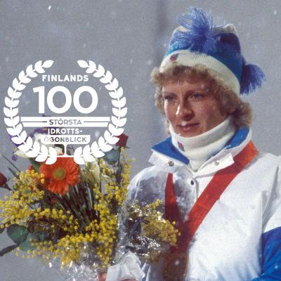 Marja-Liisa Kirvesniemi, 1984, med logon för Finlands 100 största idrottsögonblick.