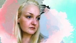 Nainen, Isabella Andersson katsoo tyhjyyteen. Kuvaan lisätty grafiikkaa.