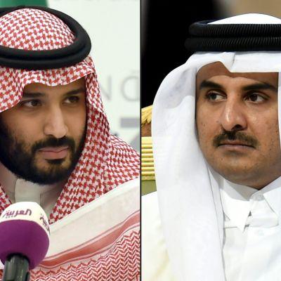 Saudiarabiens kronprins  Mohammed bin Salman och Qatar emir Tamim bin Hamad Al-Thani