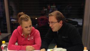 Jessica Lagerblom och Antti Koivukangas analyserar.
