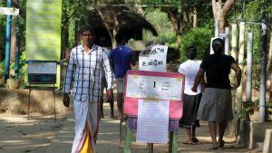 Sri Lankan presidentinvaalien äänestyspaikka Hambanthotassa.