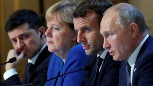 Niin kutsutun Normandia-ryhmän osanottajat pitivät lehdistötilaisuuden neuvottelujen päätteeksi.