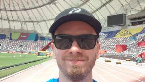 Petri Horttana på plats på VM i friidrott i Doha, 2019.