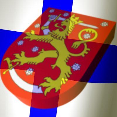 Finlands flagga med Finlands vapen