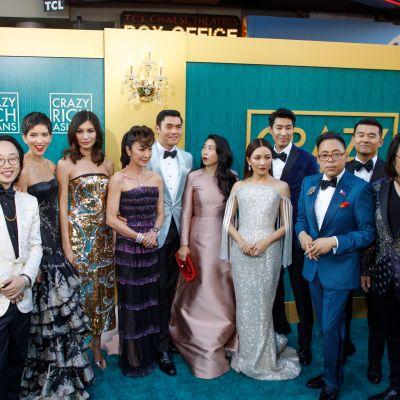 Crazy Rich Asians -elokuvan näyttelijöitä elokuvan ensi-illassa Hollywoodissa 7. elokuuta 2018.