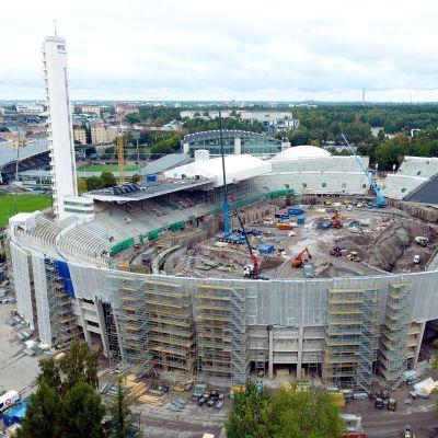 Renoveringsbild på Olympiastadion.