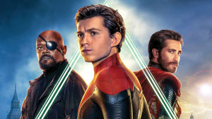 Planschen till Spider-Man filmen med Nick Fury (Samuel L Jackson), Spider-Man (Tom Holland) och Mysterio (Jake Gyllenhaal).