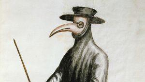 En teckning av läkare iförd en mask med en lång näbb under pesten i Venedig på 1600-talet