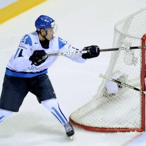 Mikael Granlunds zorromål, VM 2011, med logon för Finlands 100 största idrottsögonblick.
