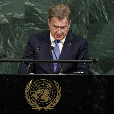 Sauli Niinistö talar inför FN:s generalförsamling