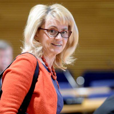 Päivi Räsänen KD:n puoluevaltuuston kokouksessa Helsingissä.