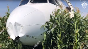 Motorerna och planets nosparti skadades i olyckan.