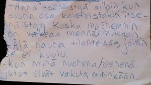 Teinin ohjeet kirjeenä vanhemmalle