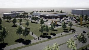 En skiss över hur Varuboden-Oslas nya dagligvaruhandel kunde se ut i Hangö.