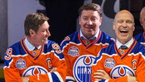 Wayne Gretzky, Jari Kurri och Mark Messier.