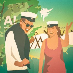 Två studenter, man och kvinna i grafisk form med högskolelogon i bakgrunden.