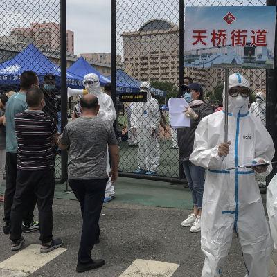 Invånare i Peking som besökt Xinfadi Market testas för covid-19.