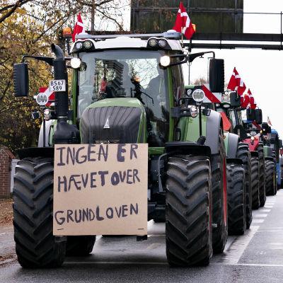 """""""Ingen är upphöjd över grundlagen"""" står det på det här plakatet under en demonstration i Ålborg i november i fjol. Bönderna ordnade många demonstrationståg med sina traktorer i protest mot minkbeslutet."""