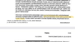 Utdrag ur Traficoms protokoll gällande tolkningstvist om ordet sjöfart