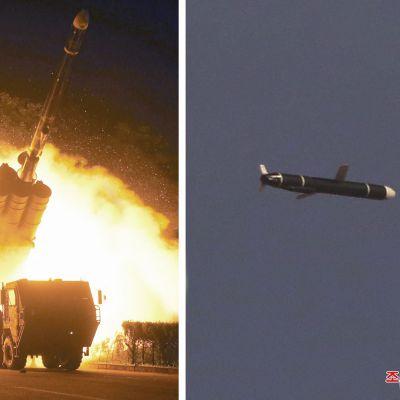 De här bilderna på avfyrandet av en kryssningsmissil publicerades av den statliga nordkoreanska nyhetsbyrån KCNA på måndag morgon.