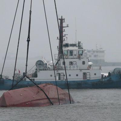 Båtolycka på Yangtzefloden.