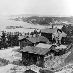 I. K. Inhan valokuvassa näkymä Pispalan rinteestä Näsijärvelle Tampereella