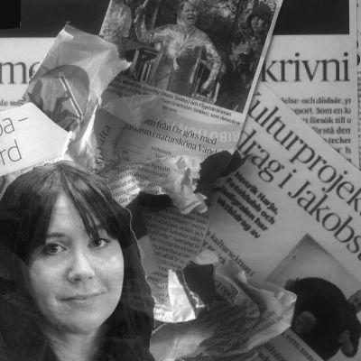 Ett collage av kulturartiklar ´, samt intervjuobjekten Riko Eklundh, Sofie Stara och Peeter Sandström.