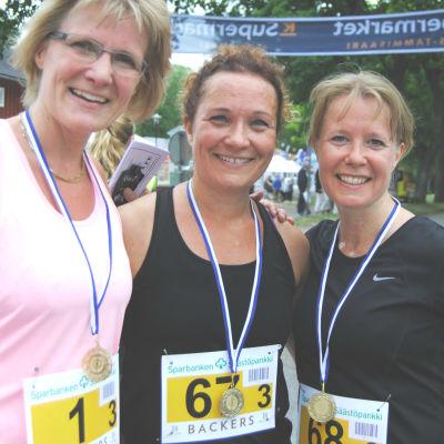 Charlotta Allamo, Marika Laaksonen och Mikaela Holmström efter loppet.