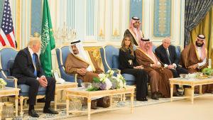 President Donald Trump och kung Salman samtalar i kungliga palatset i Riyadh.