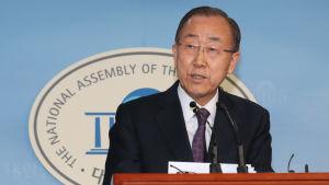 Ban kom med sitt överraskande besked vid en presskonferens i parlamentet i Seoul