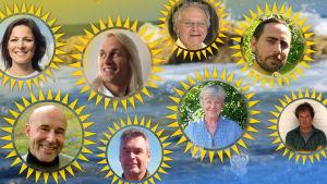 Kollage med några av de som sommarpratar 2014