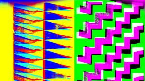 abstakti, värikäs työ, jossa paljon geometrisia kuvioita