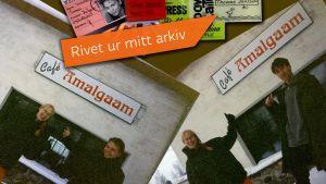 Paul Olin, Harriet Abrahamsson och Tomas Jansson framför café Amalgaam