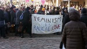 Demonstration mot regeringens nedskärningar. Helsingfors 12.3.2016: