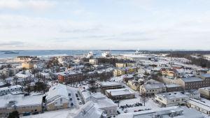 Hangö centrum sett från vattentornet