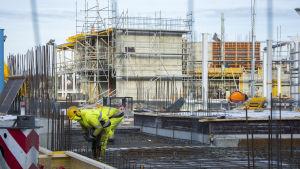 Byggarbete vid Norra hamnen i Ekenäs