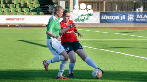 Två fotbollsspelare spelar fotboll på en grön plan.