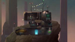 En tecknad bild av ett hus i genomskärning. Huset är inne i ett stort stenblock och består av tre våningar, med fem olika rum. I mitten står en man och på taket finns tre antenner.