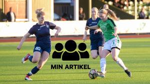 EIF:s Rebecka Mannström i kamp om bollen med FC Espoos Oona Harju.