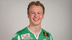 Porträttbild av fotbollsspelaren John Fagerström.