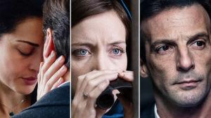 Kolme kuvaa Le bureau, vakoojaverkosto -sarjasta. Päähenkilöiden kasvoja.