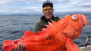 Mies (Peltsi) veneessä, esittelee kameralle valtavaa punaista kalaa (puna-ahven).